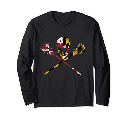 Maryland Flag Lacrosse Boys Men's Women's College LAX Stick Long Sleeve T-Shirt