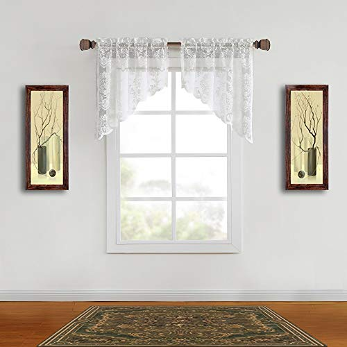 WARM HOME DESIGNS Pair of 30 Inches Wide x 38 Inches Long Ivory Color Knitted Lace Kitchen Swag Curtains with Charming Flower Pattern. Add Tiers & Valance for Ultimate Elegant Look. FI Ivory Swags