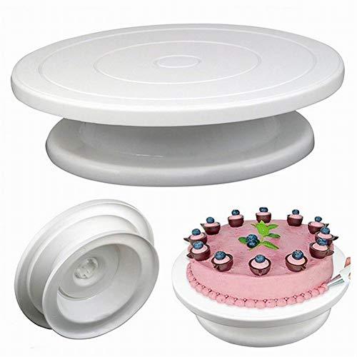 PoeHXtyy Bandeja giratoria de plástico de 11 pulgadas que da vuelta al soporte de la mesa para la decoración giratoria de la torta del soporte de la torta
