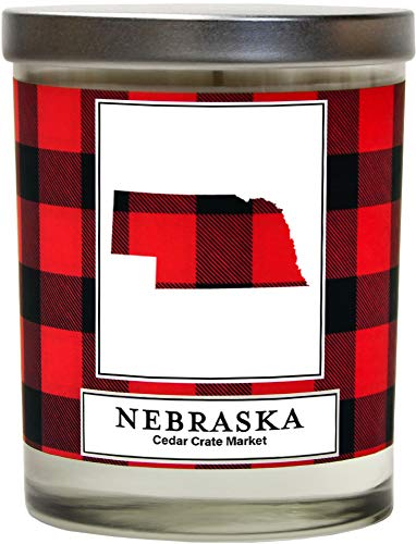 Nebraska Buffalo Plaid Scented Soy Candle | Fraser Fir, Pine Needle, Cedarwood | 10 Oz. Glass Jar Candle | Made in The USA | Decorative Candles | Going Away Gifts for Friends | State Candles