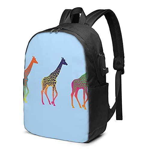 Linda mochila de jirafa de color, mochila de viaje con puerto de carga USB para hombres y mujeres de 17 pulgadas - negro - talla única