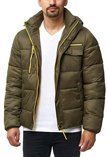Indicode Herren Bendmore Steppjacke in Daunenjacken-Optik mit Kapuze | warme Winterjacke gefütterte Übergangsjacke mit vielen Taschen Regenjacke Jacke für Männer Army XL