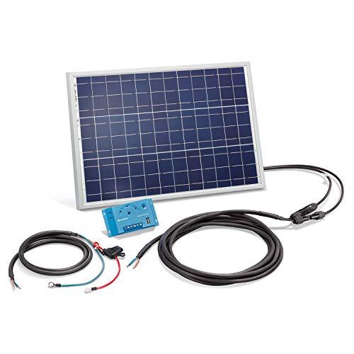 Solar Set 20 Watt Solarmodul mit 10A Laderegler - inkl. 5m MC4 Solarmodulleitung und Akkuleitung mit Sicherung - Solar Bausatz Inselanlage autarke Stromversorgung Camping Wohnmobil, esotec 120020