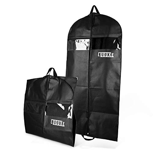 LUGUXE Extrem robuste Kleiderhülle in Schwarz, 100 x 60 cm,Widerstandsfähiger und atmungsaktiver Vliesstoff aus 125 GSM