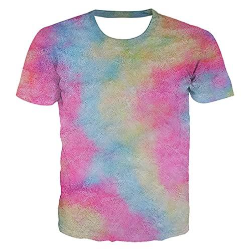DREAMING-Camiseta Casual de impresión Digital en 3D, Jersey de Cuello Redondo y Manga Corta Suelta XXL
