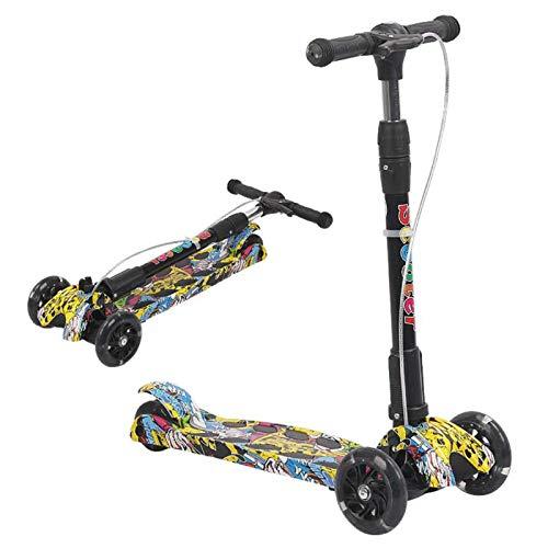 WFSH Patinete de tres ruedas plegable para niños, adecuado para niños y niñas de 3 a 12 años (color: G, tamaño: 60 x 28 cm)