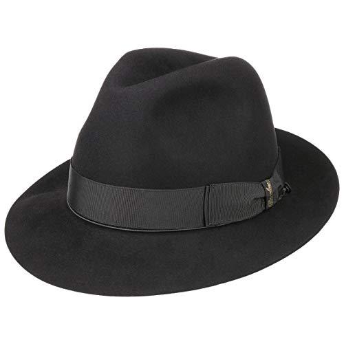 Borsalino Sombrero de Pelo Hombre Mujer/Hombre - Made in Italy Fedora Fieltro con Forro, Banda Grosgrain Verano/Invierno - 58 cm Negro