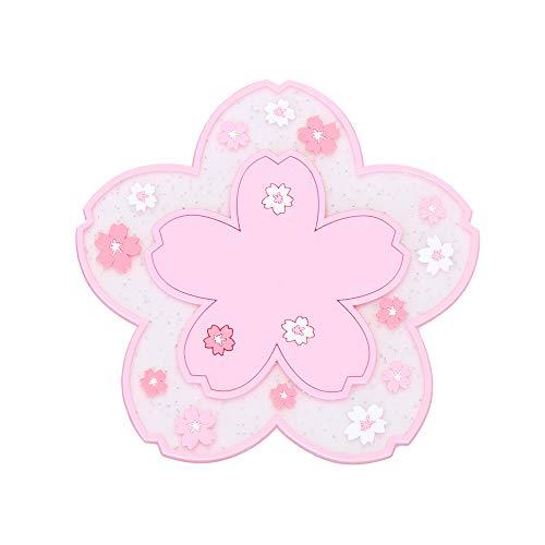 Alfombrilla de mesa con aislamiento térmico con diseño de flor de cerezo japonés, antideslizante, taza de té, taza de leche y taza de café (rosa pequeño).