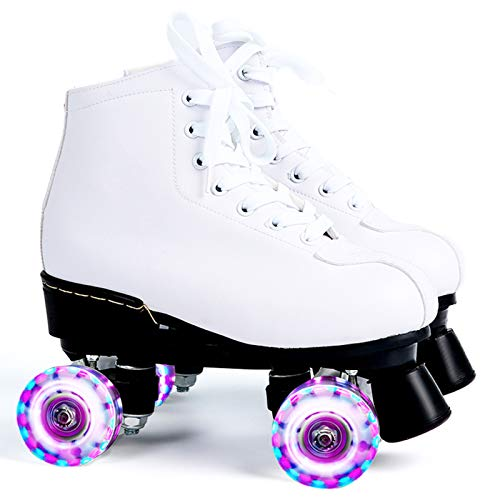 SummarLee Herren und Damen Rollschuhe Weißes Leder, LED Leuchten, Die im Freien Zweireihig Vier Rollschuhe Blinken,Color Flashing Wheel,40