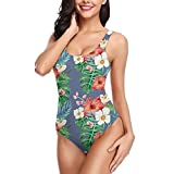 Asiluna Tropical Flower One Piece Bathing Suit for Women Sexy Swimsuit Backless Bikini for Beach Swimming Holiday-Color 8-Small