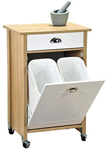 Kesper Küchenwagen mit Mülltrennsystem aus Holz, 50 x 37 x H78,5 cm Küchenschrank für Müllsäcke mit Arbeitsplatte und Schublade, 15 L Mülltüten