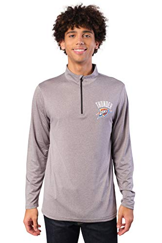 Ultra Game NBA Oklahoma City Thunder Mens Quarter Zip Pullover Long Sleeve Tee, Heather Charcoal19, Large