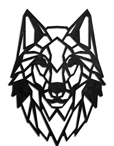 KESTEX XL WANDBILD WALL ART METALL WOLFKOPF 49 x 49 cm schwarz pulverbeschichtet WAND DEKO Premium   Geometrische Metallwandkunst Wanddekoration