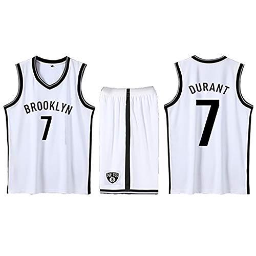 Brooklyn Fans Geschenk Nr. 7 Basketball Jersey, Durant Basketball Jersey Shorts Ärmellose Anzüge für Kinder, Männer und Unisex-Basketball-T-Shirts Student Sportswear-White-M