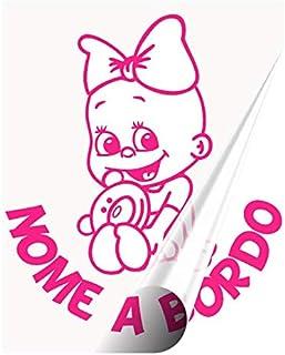 STICKEREDO Bimbo a bordo adesivo auto. adesivo bimbi a bordo con nome adesivo bebè per auto. Altezza 15/16 cm