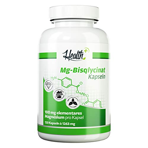 Health+ Magnesium Bisglycinat - 120 Mineralien-Kapseln, 100 mg elementares Magnesium pro Kapsel, mit Bisglycinat und Aminosäure L-Glycin, Made in Germany