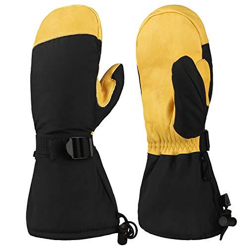 OZERO Winter Ski Snow Gloves Mitten Windproof Work Glove Cowhide Leather Palm Water Resistant