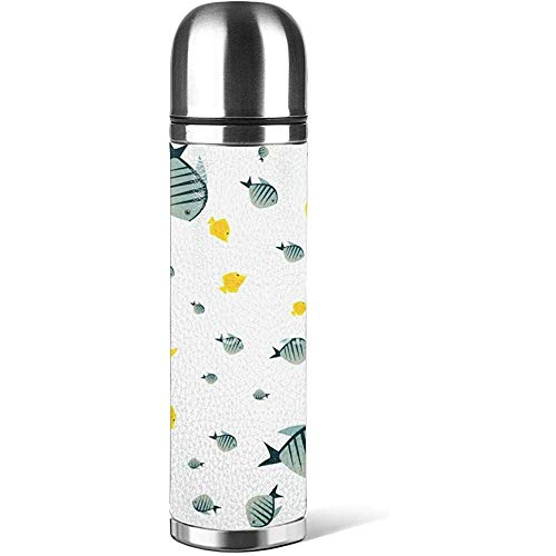 Like-like Nature Cute Fish en Tazas de café de Color Blanco con Tapas Taza de Botella de Agua 3D Impreso de Cuero Antideslizante, Taza de termos