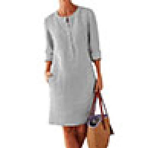 Nobrand Damen Tunika / Kaftan-Kleid, Übergröße, einfarbig, Baumwoll-Leinen, lange Ärmel, lässig Gr. Medium, grau