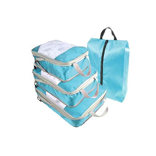 Travel Storage Bags Lightweight Travel Luggage Organizers Storage Bags Organizer Cubes Luggage Organizer Set Sky Blue 4pcs