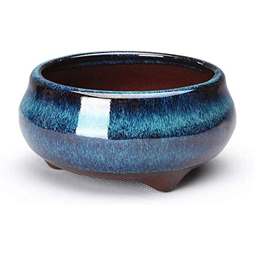 Pavo Real vidriado Azul púrpura Lavabo de Arcilla cerámica China Redonda Bonsai macetas para Plantas Maceta pequeña esmaltada DIY decoración del hogar para decoración del hogar, Sala de Esta