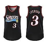 SYXBB-Lampe Jersey Jersey para Hombre de la Camiseta # 3 Allen Iverson de Philadelphia 76ers Mitchell y Baloncesto Retro del Atletismo de los Hombres de Ness,Negro,XL