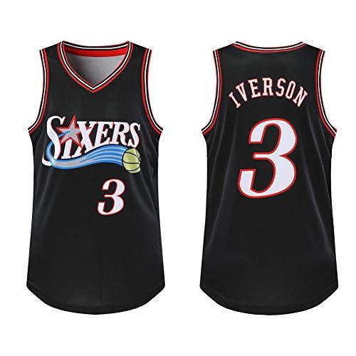 SYXBB-Lampe Jersey Jersey para Hombre de la Camiseta # 3 Allen Iverson de Philadelphia 76ers Mitchell y Baloncesto Retro del Atletismo de los Hombres de Ness,Negro,L