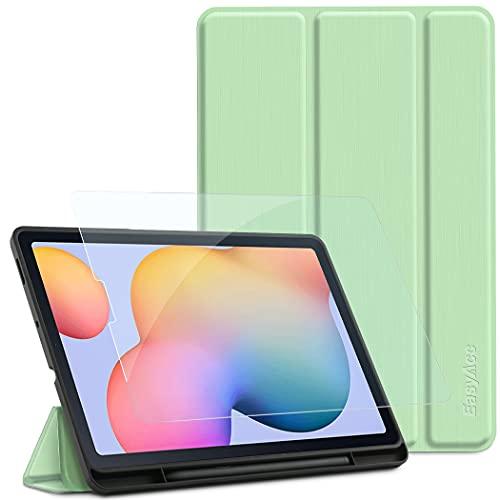 EasyAcc Hülle Kompatibel mit Samsung Galaxy Tab S6 Lite 2020 mit Panzerglas - Ultra Dünn mit Standfunktion Slim PU Leder Schutzhülle Passt für Tab S6 Lite 10.4 Zoll SM-P610N/P615N, Grün
