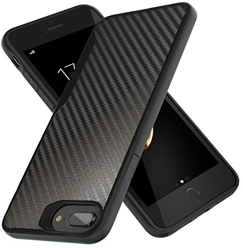 Kitoo Designed for iPhone 7 Plus Case, Carbon Fiber Pattern, 10ft. Drop Tested, Wireless Charging - Black