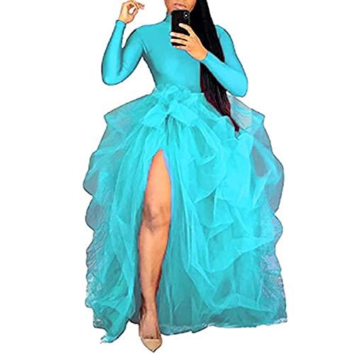 Las mujeres capas de tul maxi falda de cintura alta color slido frente dividido una lnea de abombado falda de boda fiesta club princesa falda, azul celeste, Talla nica