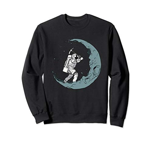 Astronaut Mining Moon With Pickaxe Graphic Sweatshirt