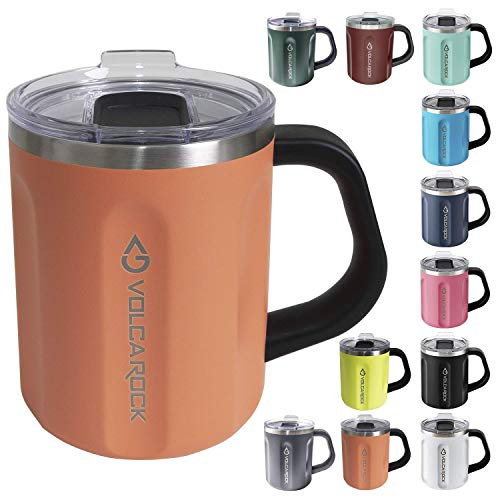 VOLCAROCK Coffee Mug with Handle and Lid 16oz Insulated Stainless Steel Coffee Travel Mug Double Wall Vacuum Reusable Coffee Cup with Powder Coated Idea Gift for Family and Friends Coral