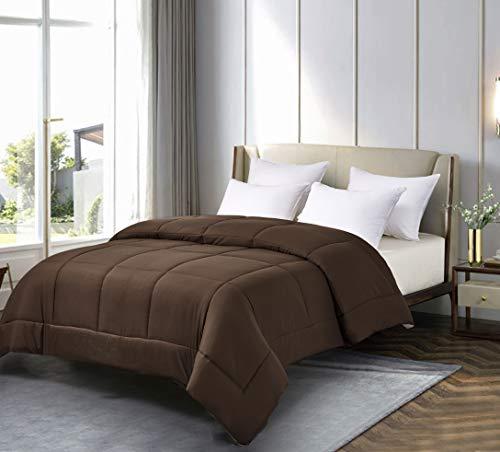 Twin Reversible Microfiber Down Alternative Comforter Brown/Khaki - Blue Ridge Home Fashions