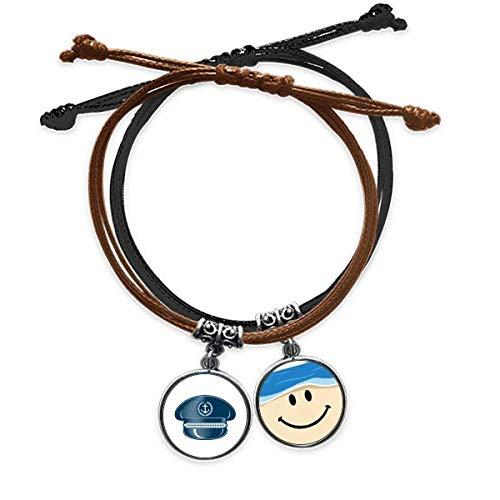 Bestchong Pulsera de cuero con diseño de sombrero de marinero con cuerda para la mano