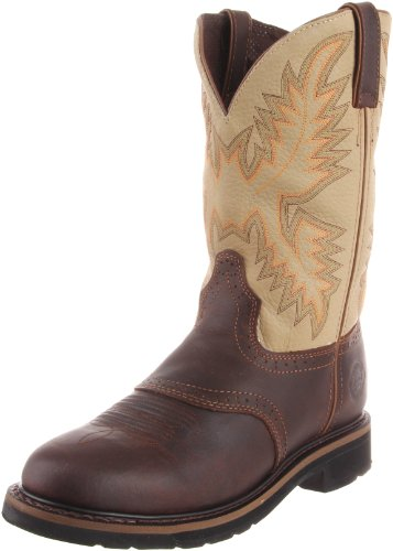 Justin Original Work Boots Men's Stampede Work Boot,Waxy Brown/Sawdust,10.5 D US