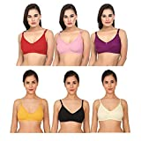 XCare Women Cotton Non Padded Non-Wired Push-up Bra (Pack of 6) (XCare-0147_38_Multicolored_38)