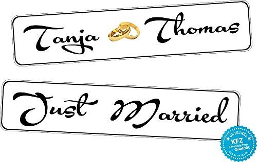A-Z Store Original KFZ-Kennzeichen Hochzeit Autoschilder Hochzeitsschilder Namensschilder Just Married u. Ringe in Gold 0237-5