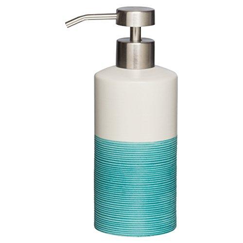 Sealskin Seifenspender Doppio, Porzellan, Farbe: Aqua, handbemalt