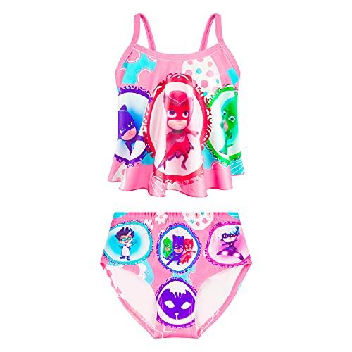 NEWFSG Toddler Girls Swimwear Cute Cartoon Girls Swimsuit Two Piece Pink Tankini Summer Beah Bathing Suit
