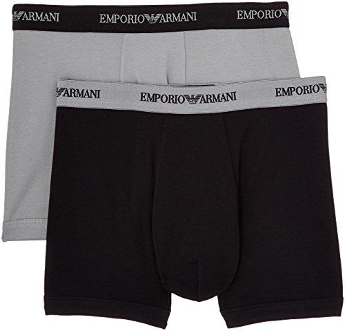 Emporio Armani Underwear Herren 111268CC717 Boxershorts, Mehrfarbig (Nero/Grigio 03320), Medium (2er Pack)