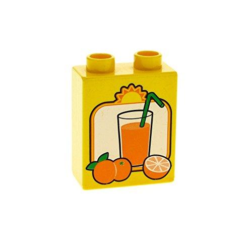 1 x Lego Duplo Motivstein gelb 1x2x2 bedruckt Orangen Saft Früchte Obst Glas Strohhalm Bild Bau Stein ohne Bodenröhre 4066pb191