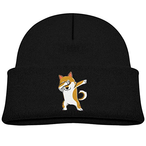 niBBuns Child Knitted hat Dabbing Shiba,Kids Winter Knit Hat Warm Fleece Lined Hats Children Cable Baby Beanie Skull Cap for Girls and Boys/Black
