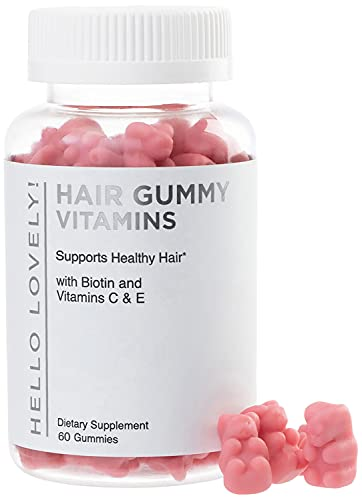 Hello Lovely Hair Vitamins Gummies with Biotin 5000 mcg Vitamin E & C Support Hair Growth, Premium Vegetarian, Non-GMO, for Stronger, Beautiful Hair & Nails, Red Berry Supplement - 60 Gummy Bears