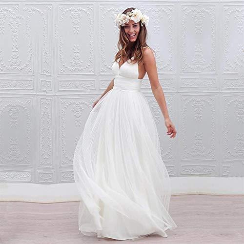 KUANGQIANWEI Wit bruidsjurk V Nekbandjes Bruidsjurken Open rug Een lijn Mouwloos Sweep Trein Bruidsjurk Bruidsjurk trouwjurk voor bruid