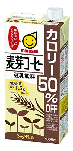 マルサン 豆乳飲料 麦芽コーヒー カロリー50%オフ 1LX6本