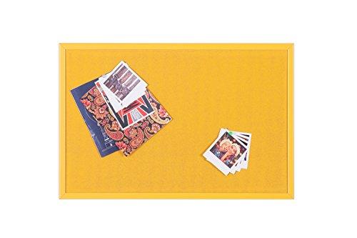 Bi-Office - Tablero de Anúncios de Corcho, Marco MDF, 60 x 40 cm, Amarillo