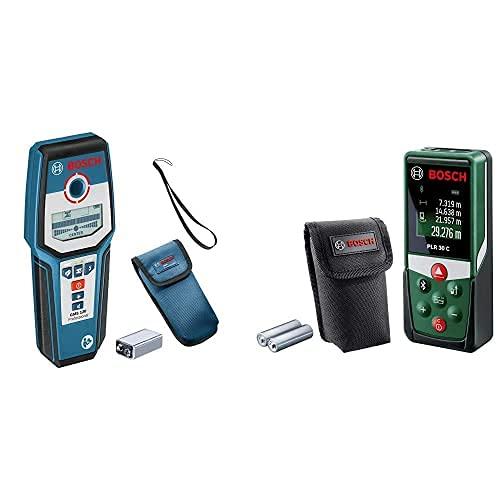 Bosch Professional GMS 120 Detector Digital + Medidor Láser PLR 30 C (con Función De Aplicación, Rango De Medición: 0,05–30M, Precisión: ± 2Mm, En Caja)