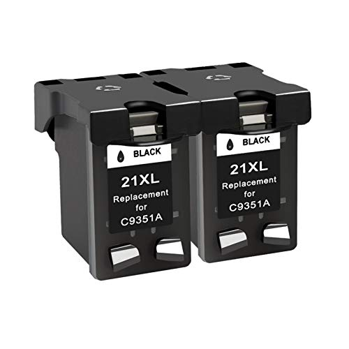 YYCH Tinta de Impresora Compatible 21 Reemplazo de Cartucho de Tinta Negra, Adecuado para HP 21 22 22 HP21 para Deskjet F2280 F4180 F4100 F2100 F2200 F300 Productos de Oficina (Color : 2BK)