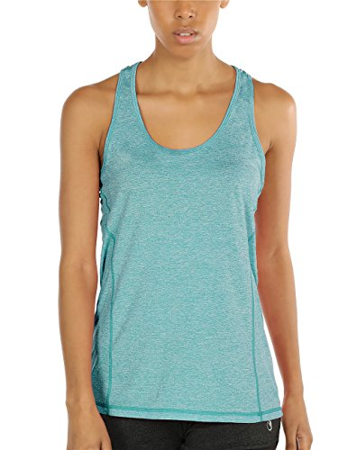 icyzone® Damen Funktions-Tanktop Sporttop Unterhemd Stretch fuer Yoga Fittness training Damen Tanktop Racerback ,Green Heather,M