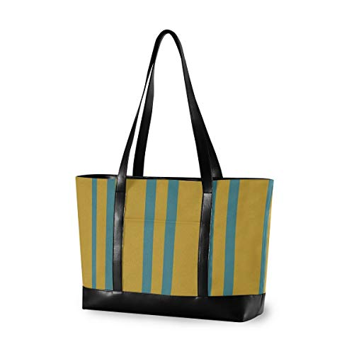 Texture Vertical Stripe Canvas Laptop Tote Bag for Women, Multifunctional Work Travel Shopping Duffel Carrying Shoulder Handbag Compatible for 14 inch to 15.6 inch Laptop Bag